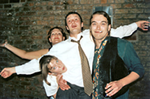 Martyn 'acting up' with friends at a party